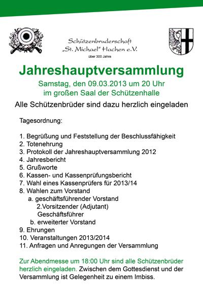 """schützenbruderschaft """"st. michael"""" hachen - newsarchiv, Einladung"""